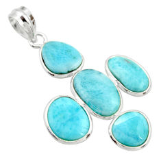 925 sterling silver 16.49cts natural blue larimar pendant jewelry r34951