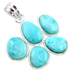 925 sterling silver 16.49cts natural blue larimar pendant jewelry r34959