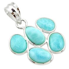 925 sterling silver 10.89cts natural blue larimar pendant jewelry r34968