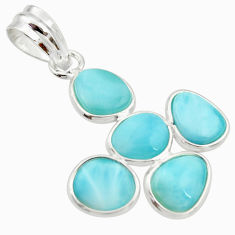 925 sterling silver 10.33cts natural blue larimar pendant jewelry r34975