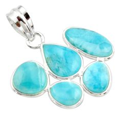 925 sterling silver 12.54cts natural blue larimar pendant jewelry r34978