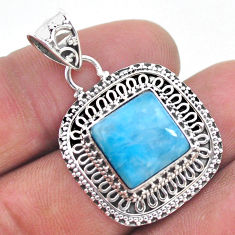 925 sterling silver 6.89cts natural blue larimar pendant jewelry t32503