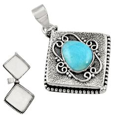 925 sterling silver 5.71cts natural blue larimar poison box pendant r30633