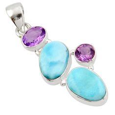 925 sterling silver 14.33cts natural blue larimar purple amethyst pendant d47413