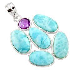 925 sterling silver 19.68cts natural blue larimar purple amethyst pendant r34942