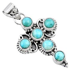 925 sterling silver 5.63cts natural blue larimar round holy cross pendant r55858