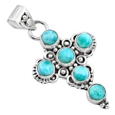 925 sterling silver 5.87cts natural blue larimar round holy cross pendant r65029