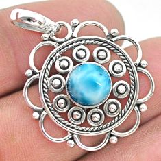 925 sterling silver 3.02cts natural blue larimar round pendant jewelry t32743
