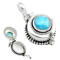 925 sterling silver 4.82cts natural blue larimar round poison box pendant t52510