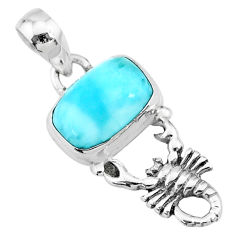 925 sterling silver 4.06cts natural blue larimar scorpion pendant jewelry r72351