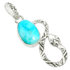 925 sterling silver 3.91cts natural blue larimar snake pendant jewelry r78591