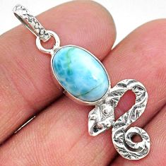 925 sterling silver 4.18cts natural blue larimar snake pendant jewelry t11093