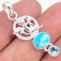 925 sterling silver 3.87cts natural blue larimar topaz angel pendant r67959