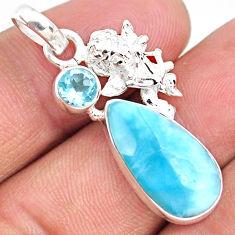 925 sterling silver 9.61cts natural blue larimar topaz angel pendant r67971