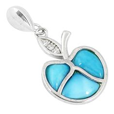 925 sterling silver natural blue larimar topaz apple charm pendant a40372 c15345