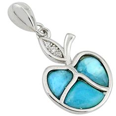 925 sterling silver natural blue larimar topaz apple pendant a32779 c15348