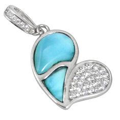 925 sterling silver natural blue larimar topaz heart pendant a56894 c15351
