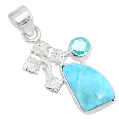 925 sterling silver 7.17cts natural blue larimar topaz holy cross pendant r69357