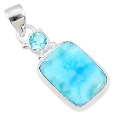 925 sterling silver 11.21cts natural blue larimar topaz pendant jewelry r68039