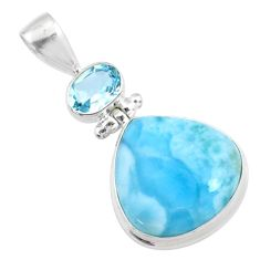 925 sterling silver 16.73cts natural blue larimar topaz pendant jewelry r73316