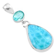 925 sterling silver 14.14cts natural blue larimar topaz pendant jewelry t24488