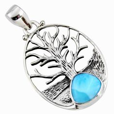 925 sterling silver 4.52cts natural blue larimar tree of life pendant r53009