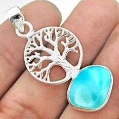 925 sterling silver 9.05cts natural blue larimar tree of life pendant t56652