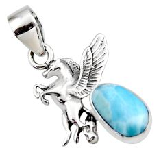 925 sterling silver 4.28cts natural blue larimar unicorn pendant jewelry r48324