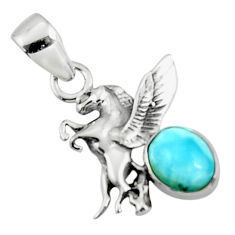 925 sterling silver 3.13cts natural blue larimar unicorn pendant jewelry r50867