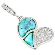 925 sterling silver natural blue larimar white topaz heart pendant a60644 c15353
