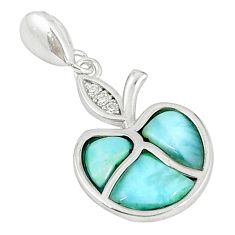 925 sterling silver natural blue larimar white topaz pendant a60760 c15359