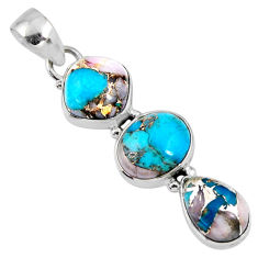 925 sterling silver 15.08cts natural blue opal in turquoise oval pendant r56204