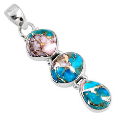 925 sterling silver 14.05cts natural blue opal in turquoise oval pendant r56215