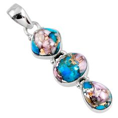 925 sterling silver 14.57cts natural blue opal in turquoise oval pendant r56219