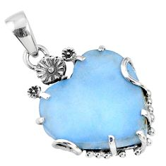 925 sterling silver 14.22cts natural blue owyhee opal heart pendant r67584