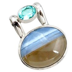 925 sterling silver 17.57cts natural blue owyhee opal oval topaz pendant r27729