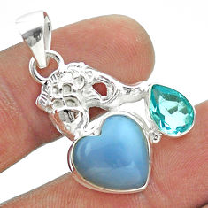 925 sterling silver 8.40cts natural blue owyhee opal topaz fish pendant t55384