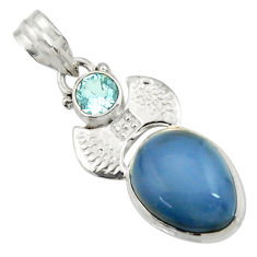 Clearance Sale- 925 sterling silver 11.46cts natural blue owyhee opal topaz pendant d42860