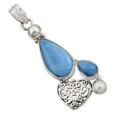 Clearance Sale- 925 sterling silver 10.64cts natural blue owyhee opal white pearl pendant d42857