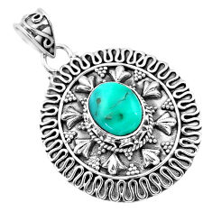 925 sterling silver 4.21cts natural blue persian turquoise pyrite pendant t32547