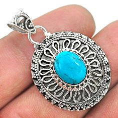 925 sterling silver 4.02cts natural blue persian turquoise pyrite pendant t32652