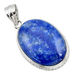 925 sterling silver 22.30cts natural blue quartz palm stone oval pendant r32026