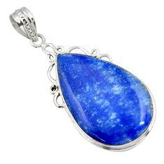 925 sterling silver 21.72cts natural blue quartz palm stone pear pendant r32030