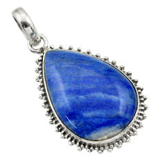 925 sterling silver 19.27cts natural blue quartz palm stone pear pendant r32237