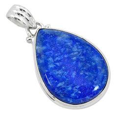 925 sterling silver 14.07cts natural blue quartz palm stone pear pendant r94838