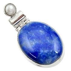 925 sterling silver 26.16cts natural blue quartz palm stone pearl pendant r30615