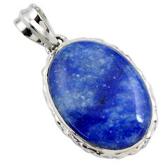 925 sterling silver 19.68cts natural blue quartz palm stone pendant r27890
