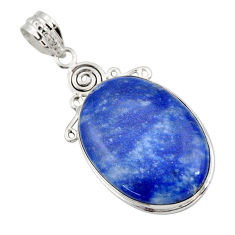 925 sterling silver 24.38cts natural blue quartz palm stone pendant r32036