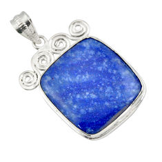 925 sterling silver 22.05cts natural blue quartz palm stone pendant r32039