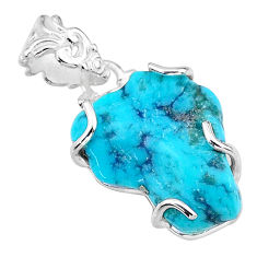925 sterling silver 11.10cts natural blue raw turquoise pendant t14949